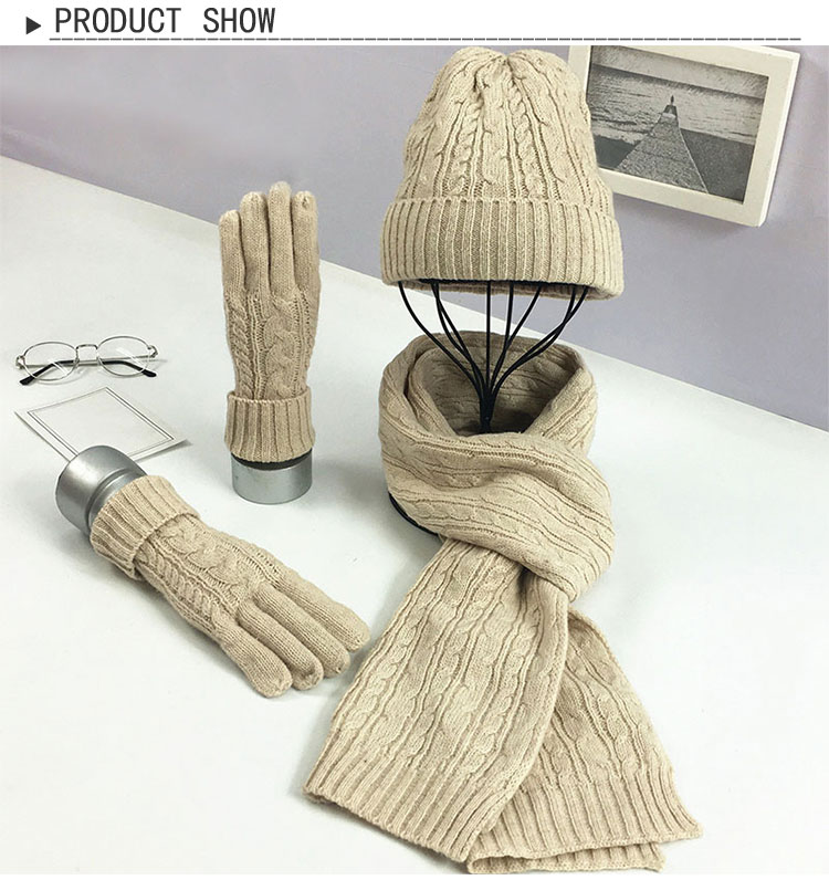 Knitted Winter Hats For Women's Hat Scarf Glove Set 3 Piece Sets Fashion Twist Stripes Cap Gorros Bonnet Wool Beanie Skullies