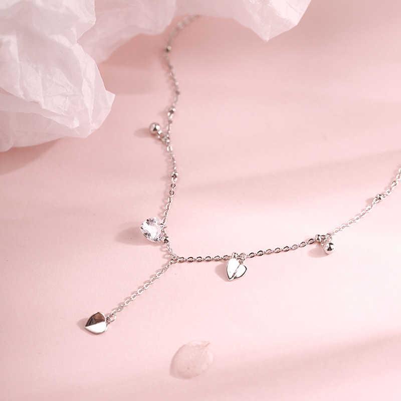 Anenjery Danity 925 Sterling Silver Rumbai Jantung Kalung untuk Wanita Kalung Collares Pernikahan Perhiasan S-N474