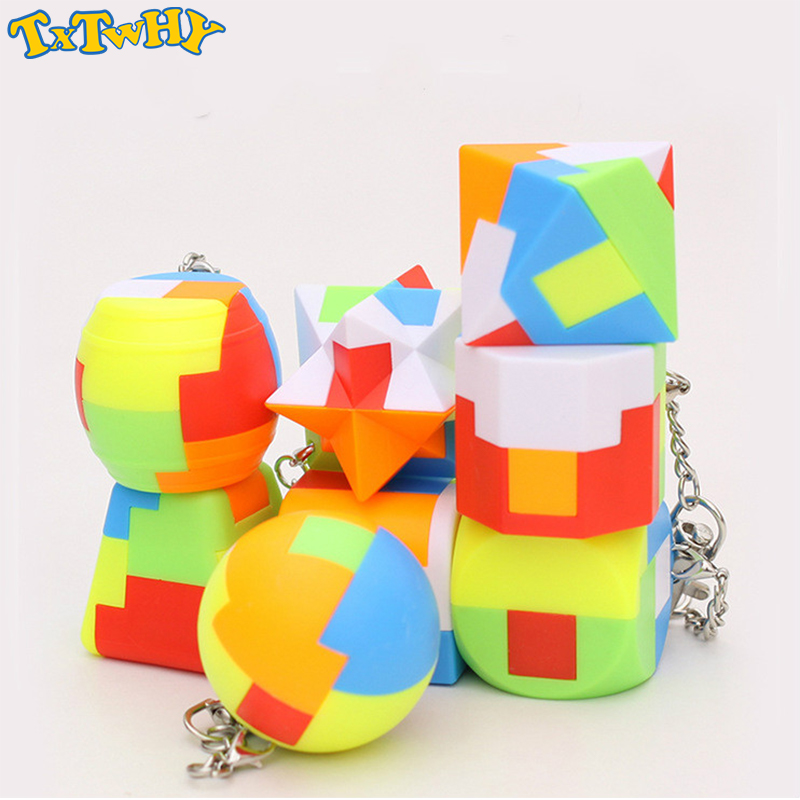 Mini Keychain Magic Cube Trihedron Cylinder Speed Cube Puzzle Neo Cubo Magico Learning Educational Toys For Children Boys