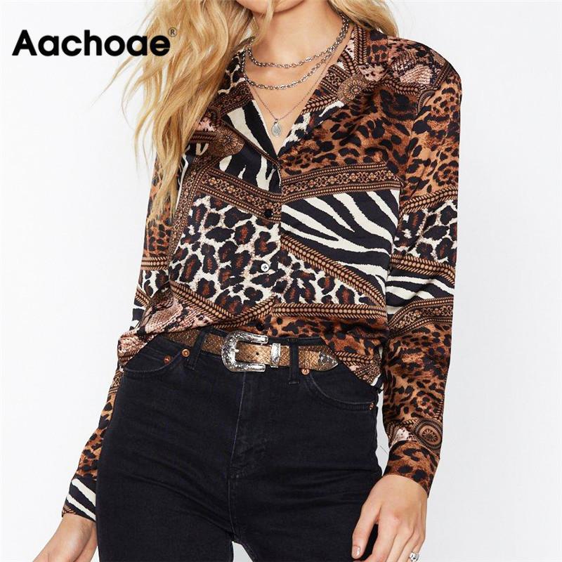 Aachoae Leopard Blouse 2020 Casual Women Tops Blouse Shirt Vintage Long Sleeve Shirt Turn Down Collar Chemisier Femme Plus Size