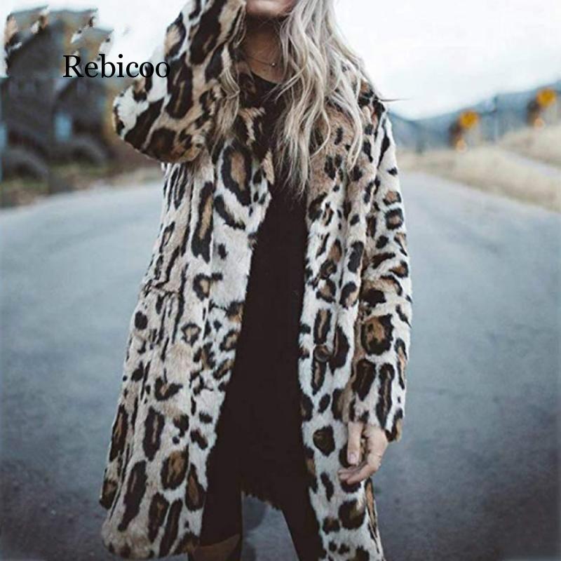 Winter Leopard Warm Jacket Women Fashion Casual Slim Print Fur Jacket Female Harajuku Long Faux Fur Coat Thicken Outwear