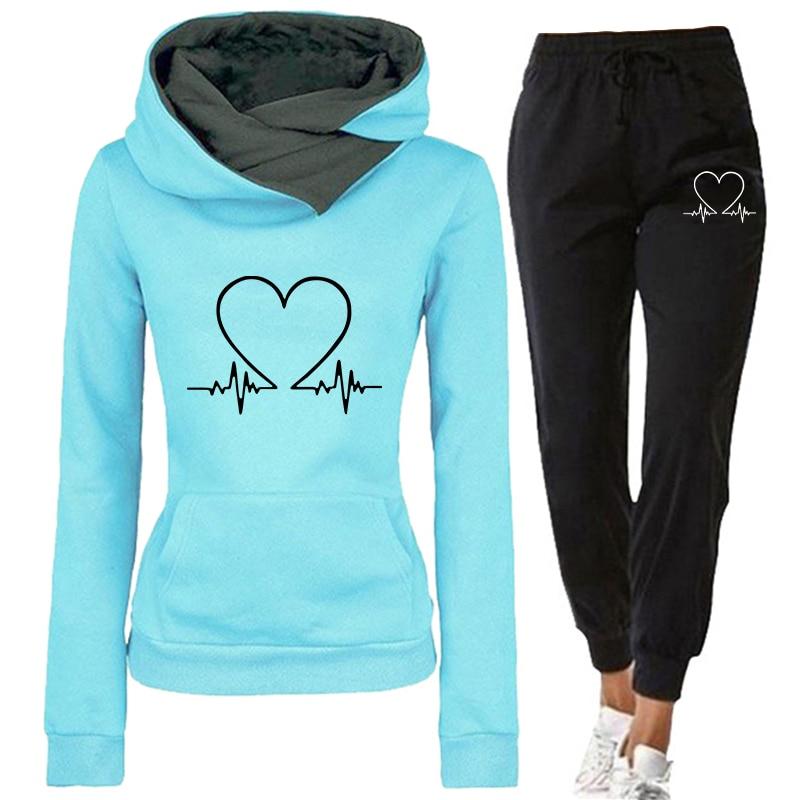 Женский спортивный костюм, комплект из двух предметов, зимние теплые толстовки + штаны, пуловеры, свитшоты, женская одежда для бега, женский ...