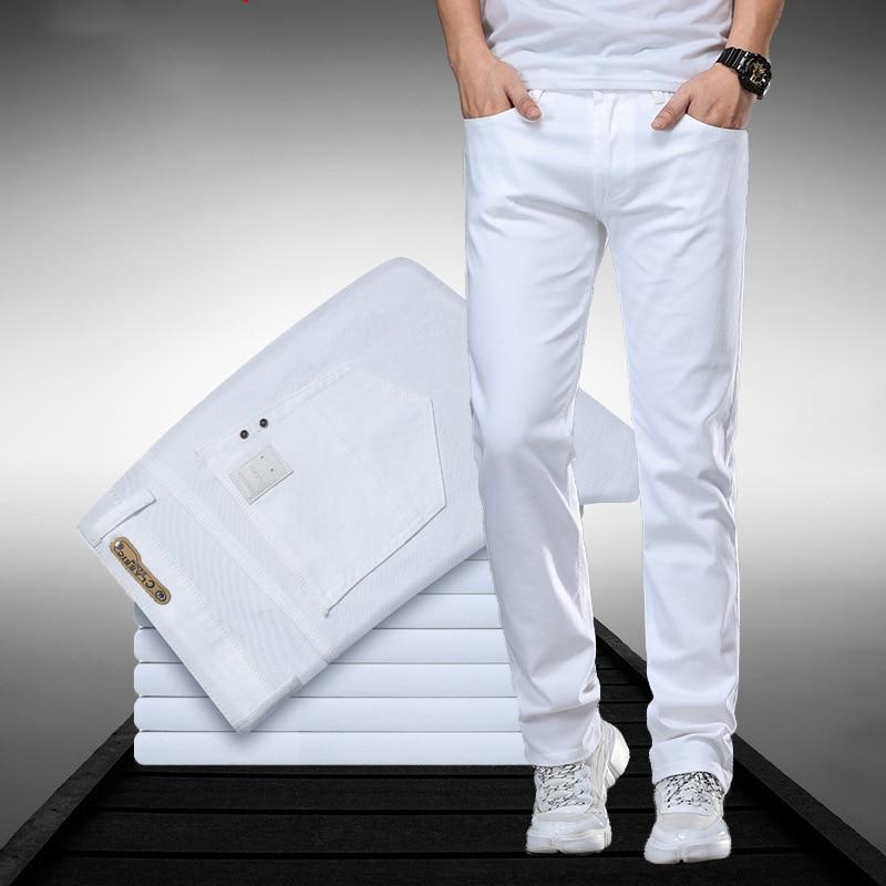 Classic Style Men's Regular Fit White Jeans Business Smart Fashion Denim Advanced Stretch Cotton Trousers Male Brand Pants,109 1