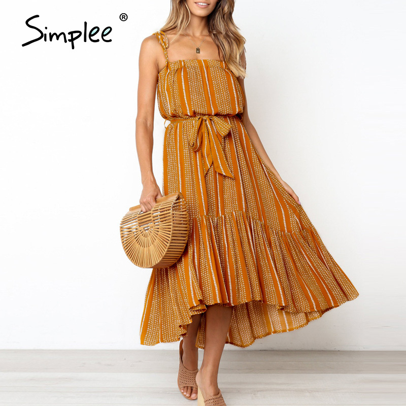 Simplee Boho Sleeveless Summer Dress Casual Ruffled Striped Print Sash Maxi Dress Ladies Holiday Beach Wear Strap Sexy Dress