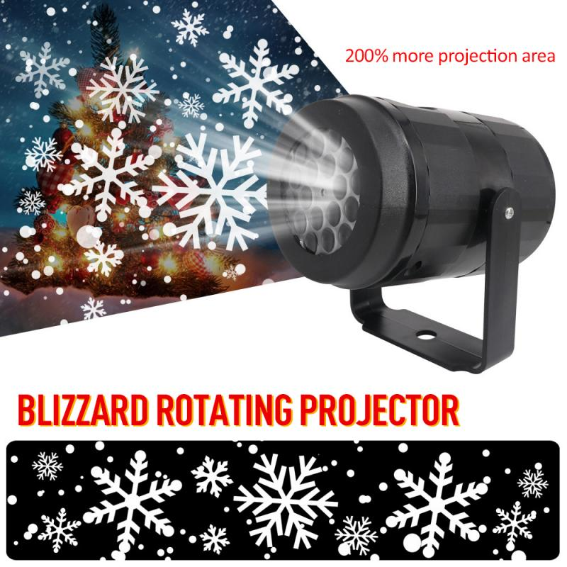 Rotated LED Laser Projector Light Christmas Snowflake Pattern Stage Lighting Effect Party Supplies Christmas Decoration For Home