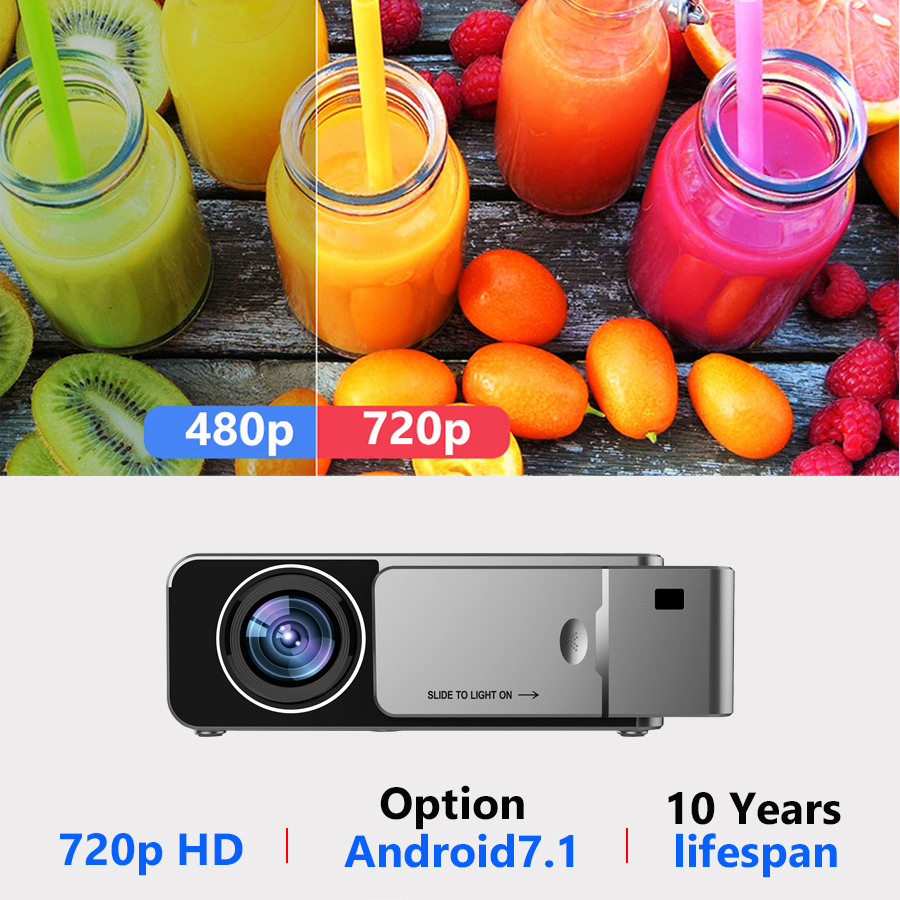 VIVICINE Newest V200 1280X720P LED HD Projector, Optional Android 7.1 Bluetooth,Support 4K Wifi HDMI USB LCD Home Theater Beamer 1
