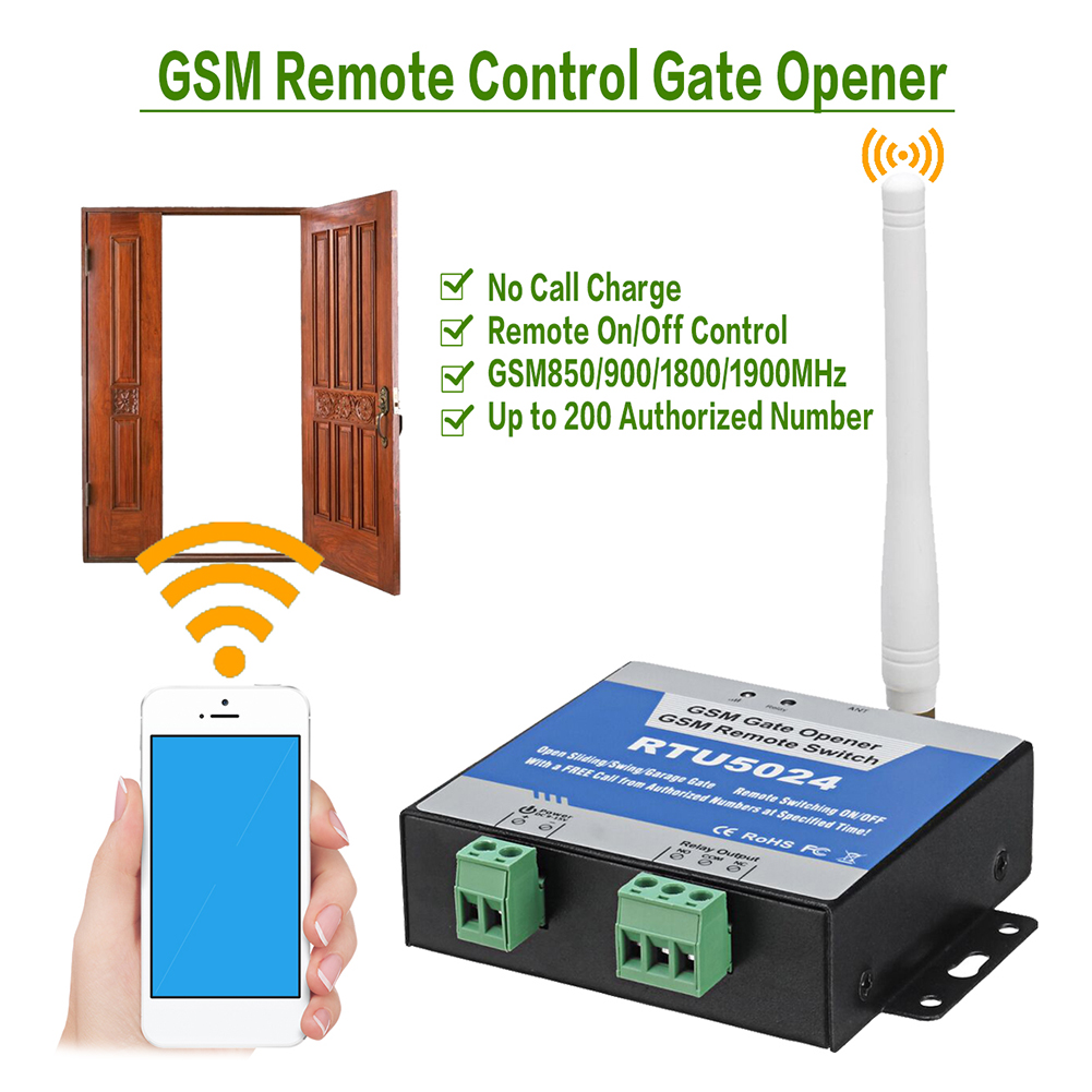 RTU5024 GSM Gate Opener Relay Wireless Remote Control Door Access Switch Free Call 850/900/1800/1900MHz