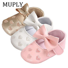 Baby PU Leather Baby Boy Girl Baby Moccasins Moccs Shoes Bow Fringe Soft Soled Non-slip Footwear Crib Shoes cheap MUPLY CN(Origin) Butterfly-knot All seasons Slip-On Heart-Shaped Baby Girl First Walkers Fits true to size take your normal size