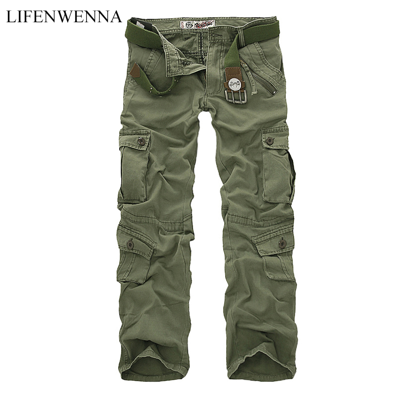 LIFENWENNA Hot Sale Autumn Men Cargo Pants Camouflage Trousers Military Pants For Man 7 Colors Pocket Tooling Pants Men