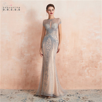 Luxury Silver Crystals Beads Mermaid Long Evening Dress Sexy Illusion Party Dresses Formal Gowns
