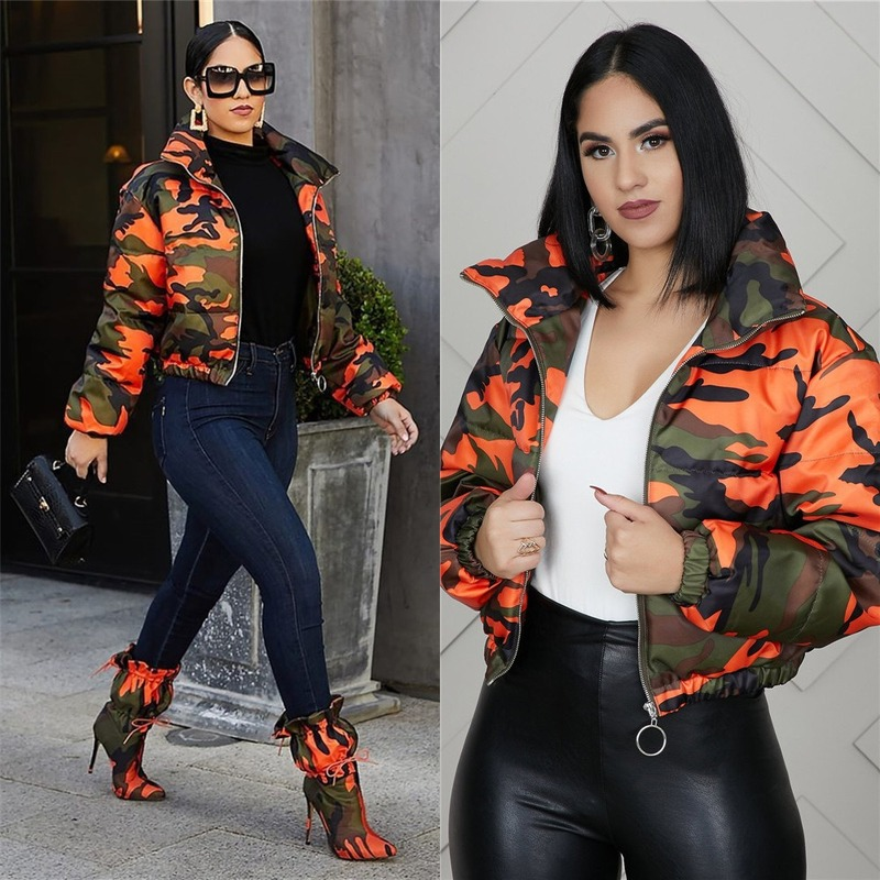 2020 Camo Puffe Jacket Winter Women Short Parkas Down Bubble Coat Full Sleeve Zipper Up High Street Outer Night Club Jacket Tops