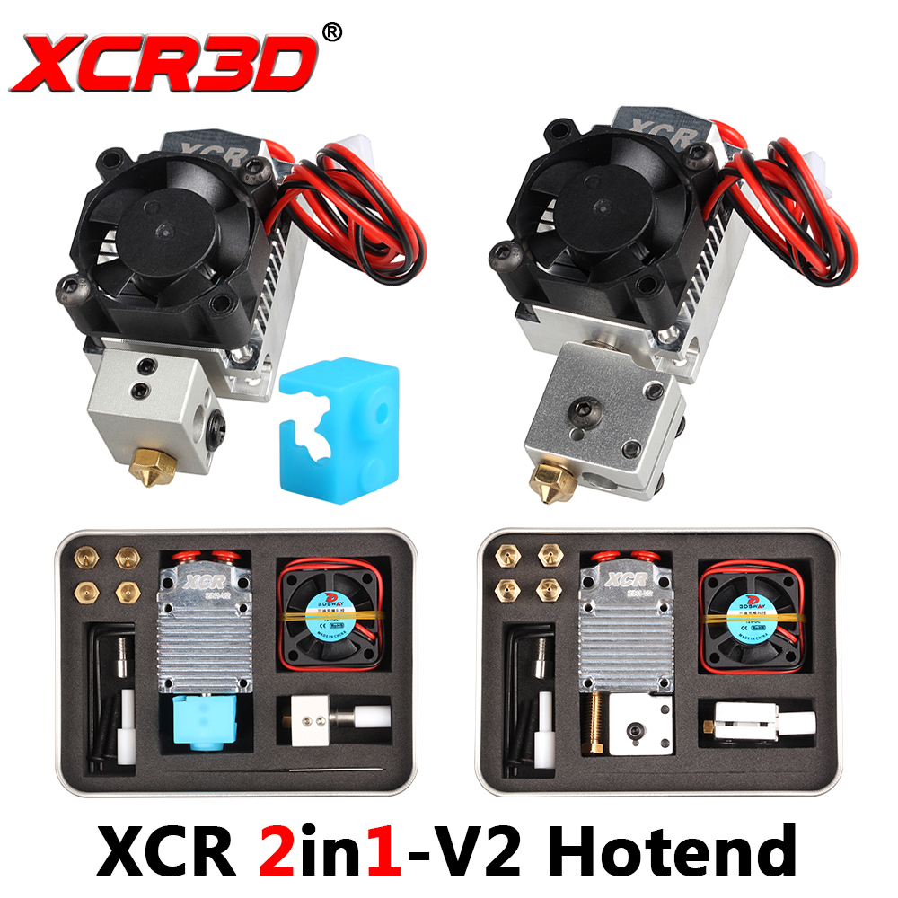 3D Printer Extruder Parts XCR 2IN1-V2 Hotend Double Color Printing Print Head With The NV6 Heated 0.4/1.75 Volcano Nozzle 0.8mm