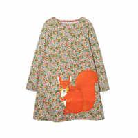 SLW sauteur mètres princesse robes Animal appliques filles vêtements pour automne hiver Floral coton fête d'anniversaire filles robes