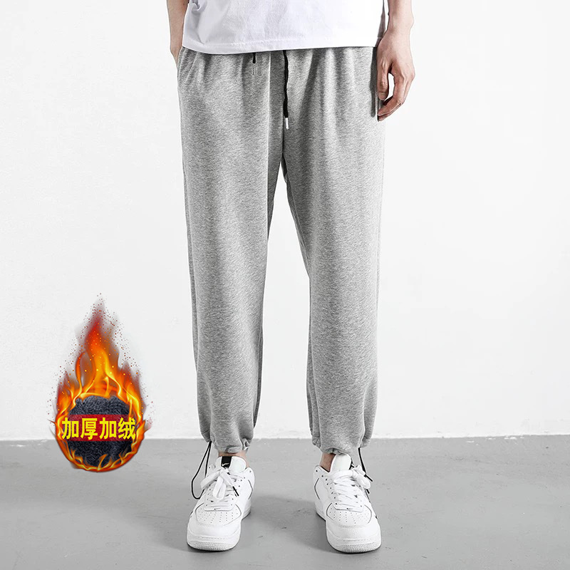 Athletic Pants Men's Autumn Brushed And Thick Straight-Cut Casual Pants Popular Brand Knitted Sweatpants Autumn And Winter Loose
