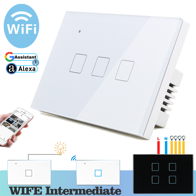 WIFI Touch Light Wall Switch White Glass Panel Blue LED US 118*72mm Universal Smart Home Phone Control 3 Gang 2 Way Relay Square