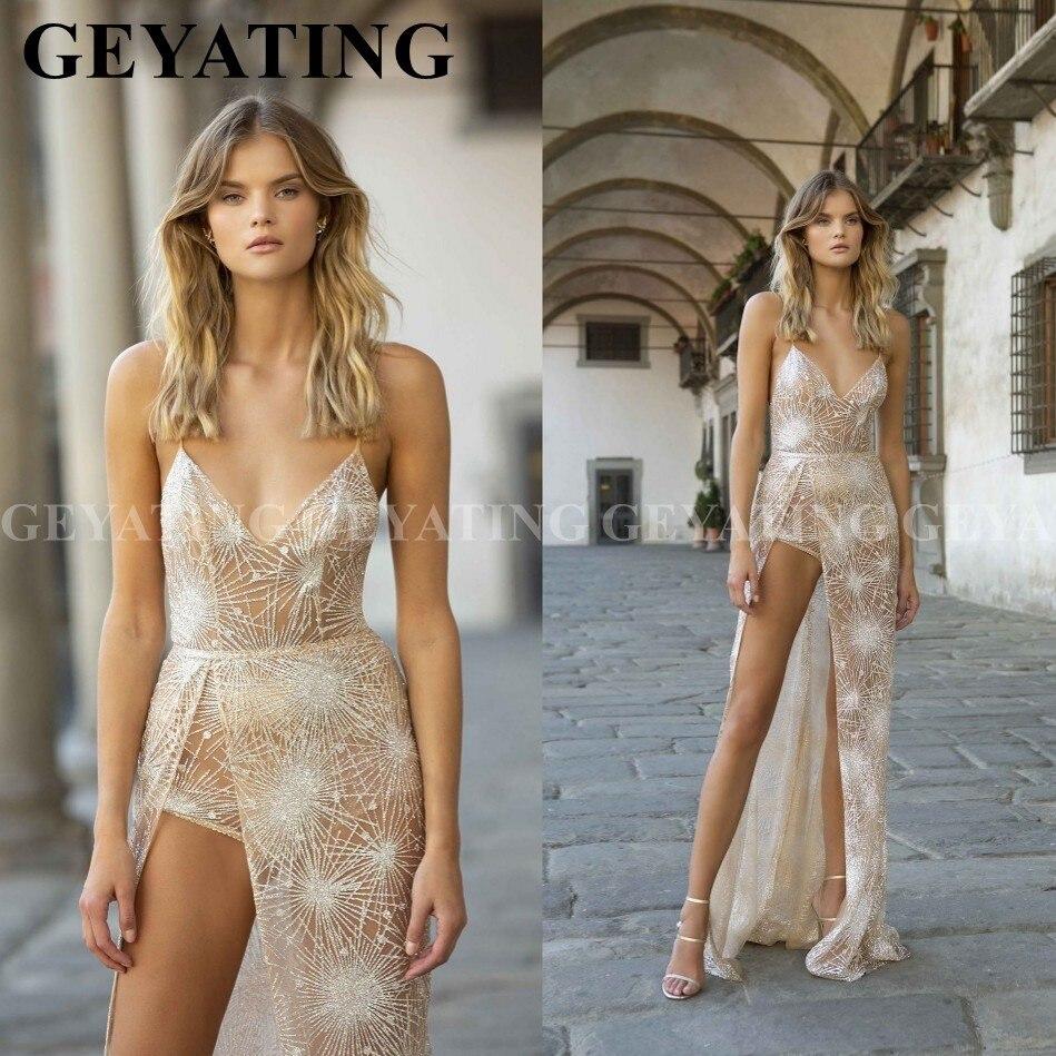 Sexy bretelles Spaghetti haut Split combinaisons robes de bal avec pantalon court col en v dos nu longues robes de soirée robe de Graduation
