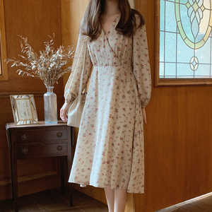 2020 autumn spring Korean style maxi dress long lantern sleeve v neck loose high waist floral printed causual vestidos mujer(China)