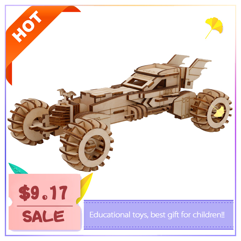3D wooden car model  carrier diy interactive early education parent-child assembly brain development 3d puzzle kid toys