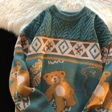 Japanese Cartoon Knitted Pullover Sweaters Korean Streetwear O Neck Long Sleeve Sueter Mujer Harajuku Ulzzang Sweaters