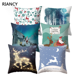Santa Deer Pattern Christmas Cushion Cover Decorative Throw Pillow 45*45cm Polyester Pillowcase Xmas New Year Home Decor 40543 1