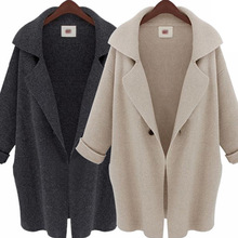 2019 autumn and winter women's coat in  long suit collar sweater casual loose shawl cardigan coat shawl collar longline coat