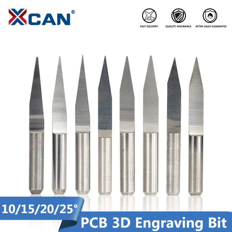 XCAN 10pcs 3.175mm Shank Carbide V Shape Carving Cutter 10/15/20/25 Degrees PCB Machine Engraving Bits