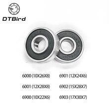 10 pezzi 6000 6001 6900 6901 6902 6903 2RS cuscinetti radiali a sfere, acciaio per cuscinetti 12X24X6 Mm