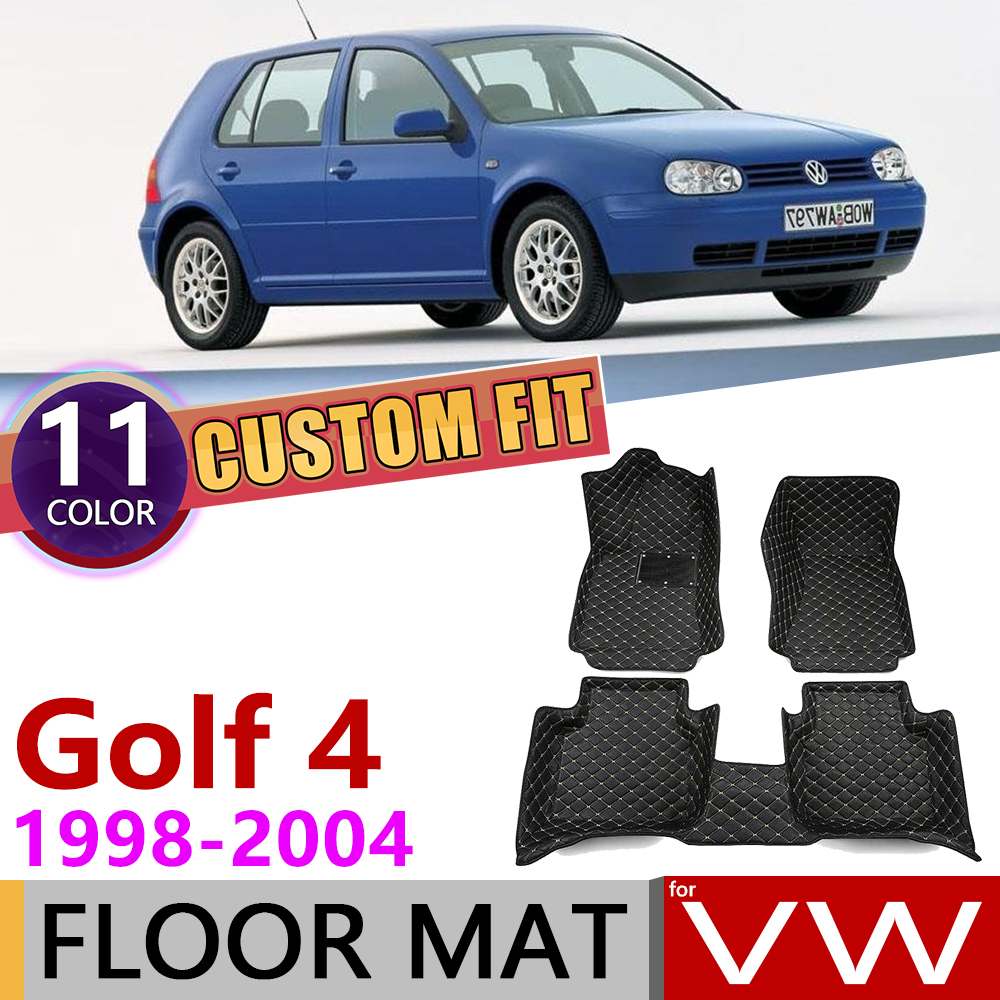 Custom Car Leather Floor Mats For Volkswagen VW Golf 4 Hatch MK4 1J 1998~2004 5 Seats Foot Pad Carpet Accessories 1999 2000 2001