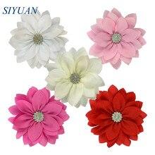 50 pçs/lote 9cm multy camada tecido flor com strass chique flor de lótus crianças adorável acessórios alta qualidade th300