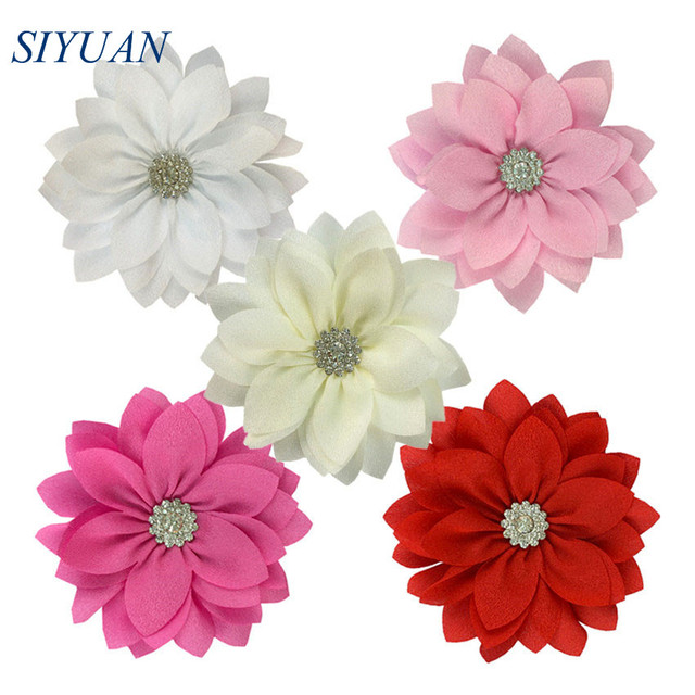 50 teile/los 9cm Multy Schicht Stoff Blume mit Strass Chic Lotus Blume Kinder Schöne Headwear Zubehör Hohe Qualität TH300