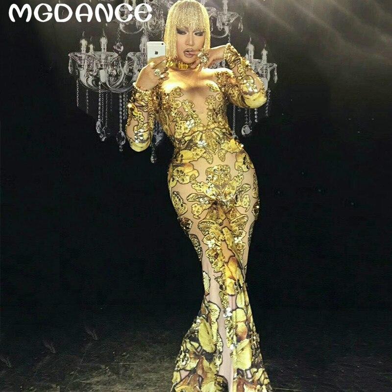 Новые пикантные женские облегающие золотые комбинезон со стразами певица танцор большие штаны костюм Цельный боди Ночной клуб Oufit вечерние