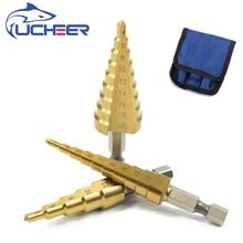UCHEER HSS 티타늄 스텝 드릴 비트 금속 나무 육각 섕크 스텝 비트 3 12/4 12/4 20/4 32 목수 도구 오거 센터 드릴