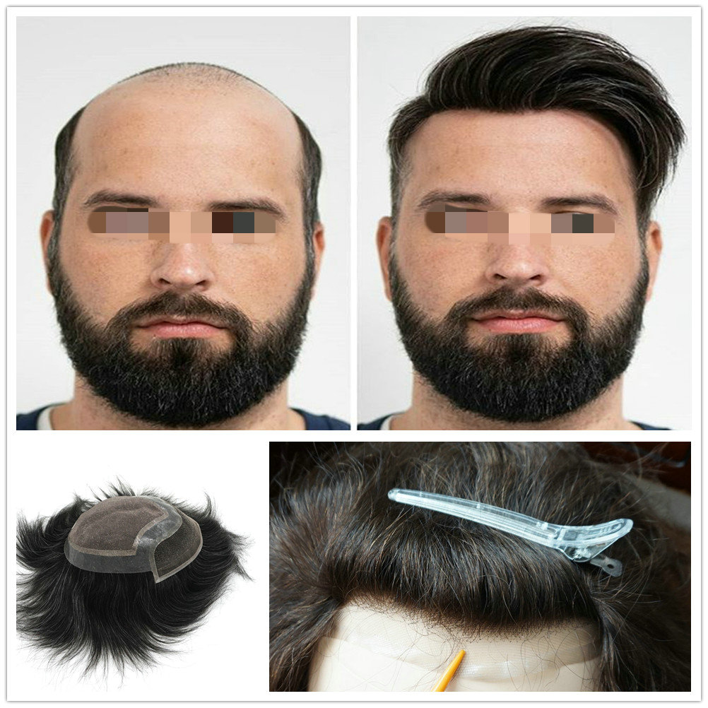 Hstonir Wig For Males Men Hair Mens Hairpieces Indian Remy Hair Swiss Lace Front Toupee H046