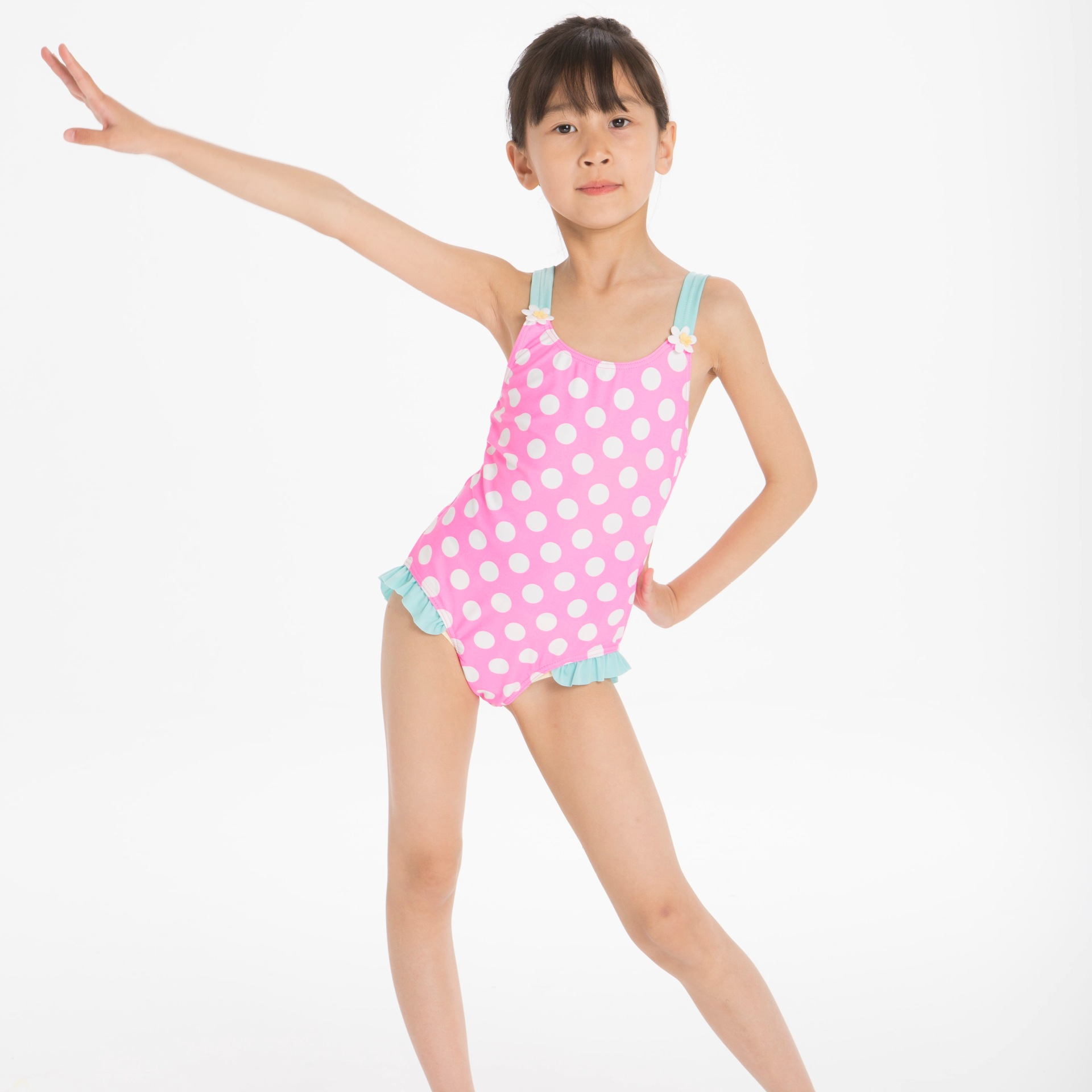 Bright Pink Dotted Girls One-piece CHILDREN'S Swimwear Beach One-piece Swimsuit For Children A Generation Of Fat