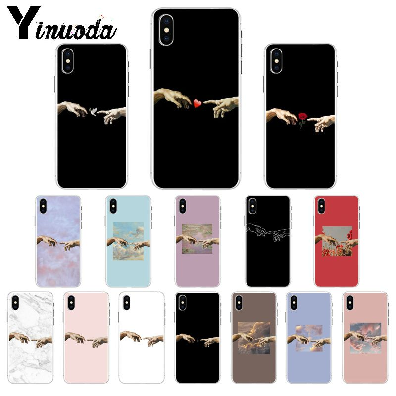 Yinuoda Funny Hand The Creation of Adam TPU Soft Phone Case Cover for Apple iPhone 8 7 6 6S Plus X XS MAX 5 5S SE XR Mobile Case