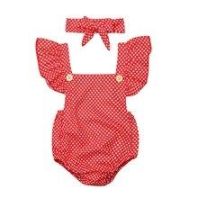 hilittlekids 2Pcs/Set Summerborn Baby Girls Rompers Set Flare Sleeve Dot Print With Headband