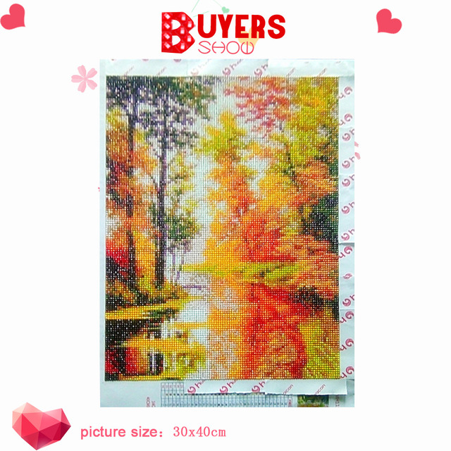 HUACAN 5D Diamond Painting Full Round Diamond Mosaic Landscape Diamond Embroidery Sale Autumn Scenery