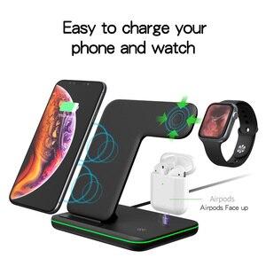 Image 2 - Bezprzewodowa ładowarka do iPhone 11 11 PRO MAX Samsung S10 szybka bezprzewodowa podkładka ładująca 3 w 1 do Huawei Xiaomi 9 Airpods iWatch 4 3 2