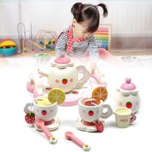 Wooden Kids Tea Set Role Play Kitchen Toy Pretend Cup Teapot Tray Bowl Gift Wooden Tea Set Toy Fruit Slice Kitchen Tray Toy Set(China)