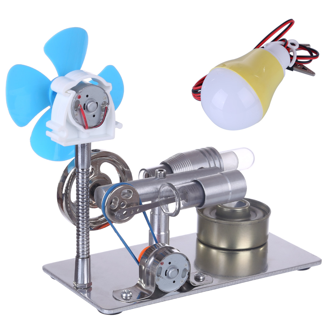 New 1 Set Single Cylinder Stirling Engine Model With Bulb And Fan With High Quality 2020 DIY Science Gifts-Random Bulb Color