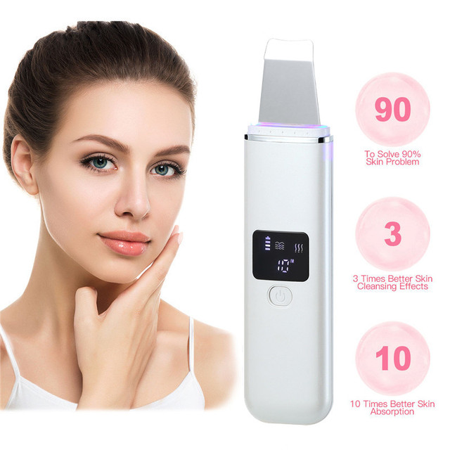 Ultrasonic Face Cleaning Peel Machine Skin Scrubber Blackhead Remover Reduce Wrinkles Spots Facial Whitening Lifting Massager