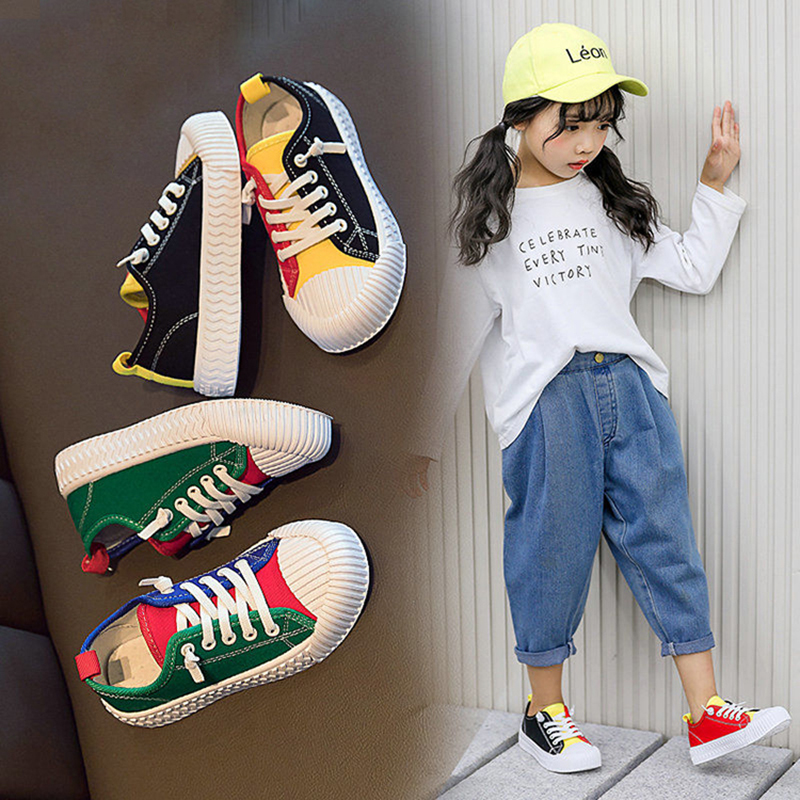 Kids Girls Children Candy Colors Hip Hop Dance Canvas Shoes For Teens Girls Flats Sneakers 4 5 6 7 8 9 10 11 12 13 Years New