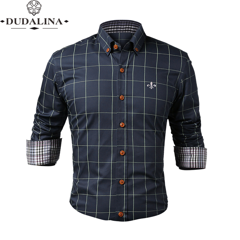 Fashion Blouse Shirt Plaid Social Masculina Dudalina Long Sleeve Slim Fit Shirt Men Floral Clothes Pullover White Male Cold
