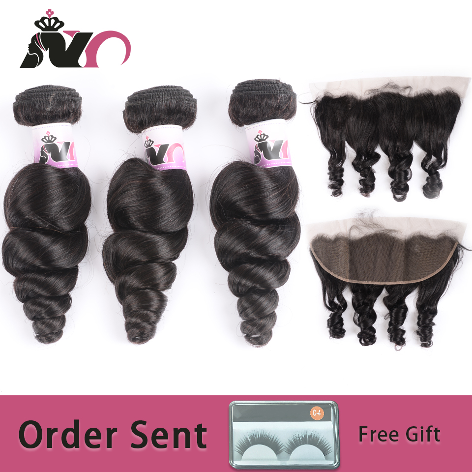 NY Loose Wave Bundles With Frontal Peruvian Weave Human Hair Deals 3 Bundles With 13*4 Swiss Lace Closure Non-Remy Hair Bundles
