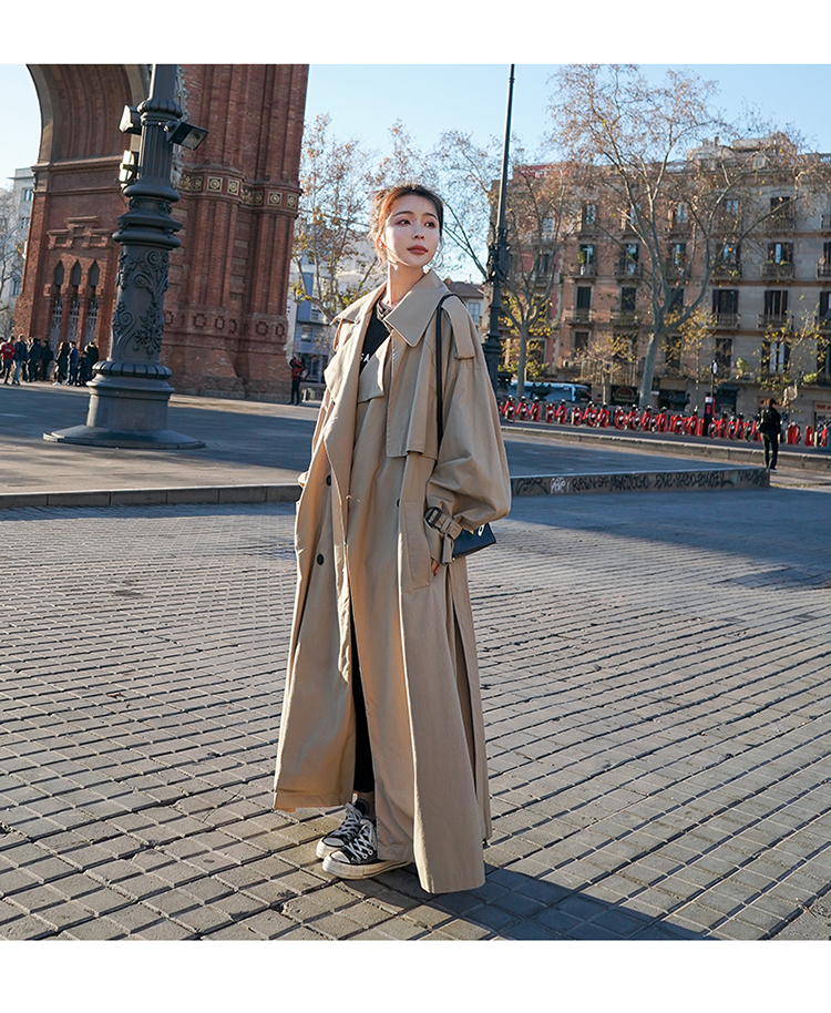 H3a380faf387a49199132fa660bf43c8dy Korean Style Loose Oversized X-Long Women's Trench Coat Double-Breasted Belted Lady Cloak Windbreaker Spring Fall Outerwear Grey