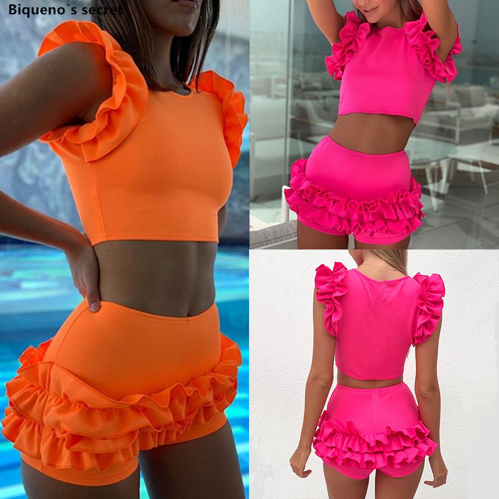Orange <font><b>Swimsuit</b></font> <font><b>Ruffle</b></font> <font><b>Sexy</b></font> High Waist <font><b>Bikini</b></font> <font><b>2019</b></font> Short Sleeve Pink <font><b>Swimwear</b></font> <font><b>Women</b></font> Tankini Biquini Bathing Suit Maillot De Bain image