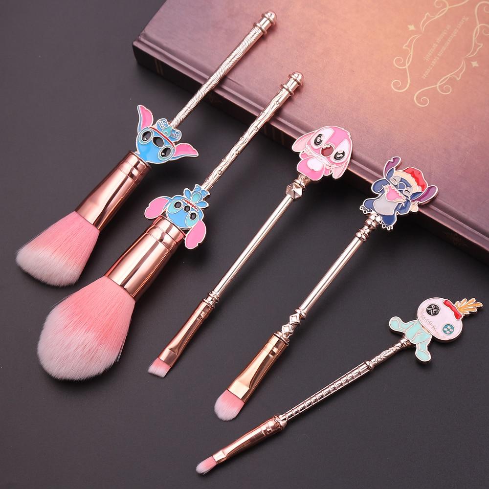 Stitch Doll Shape Makeup Brush 5pcs//set Artificial Fiber Long Rod Handle