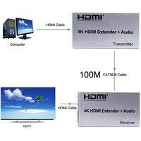 60M 100M 4K HDMI موسع + الصوت 1080p TX TX جهاز ريسيفر استقبال وإرسال أكثر من القط 5e 6 CAT6 RJ45 إيثرنت محول الكابل DVD الكمبيوتر إلى التلفزيون