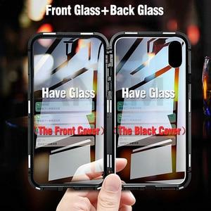 Image 2 - Metal magnetyczny etui do iphone X X Xs 11 Pro Max szkło hartowane z powrotem magnes skrzynki pokrywa dla iphone 6 6S 7 8 Plus skrzynki pokrywa