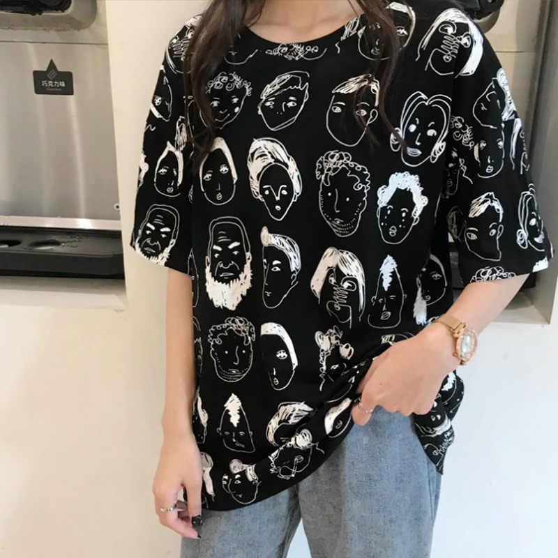 Camisetas holgadas Kpop coreano con estampado de cabeza para mujer, camisetas de manga corta con cuello redondo para mujer de calle alta, verano 2020, ropa de mujer de gran tamaño